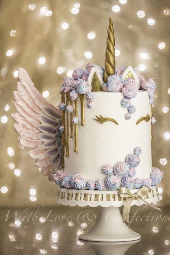 Unicorn Drip Cake with Meringue Wings - Cake by Veronica Arthur