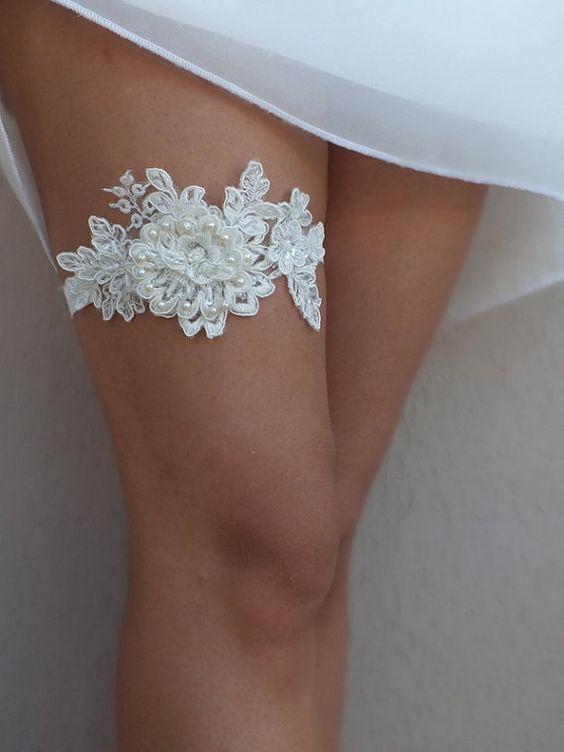 Unique ivory lace wedding garter
