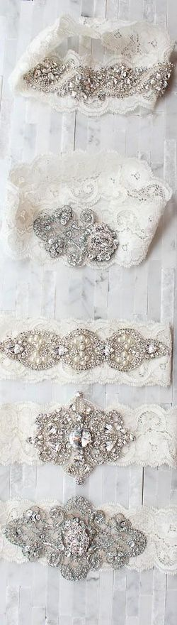 Vintage sparkling and lace wedding garter ideas