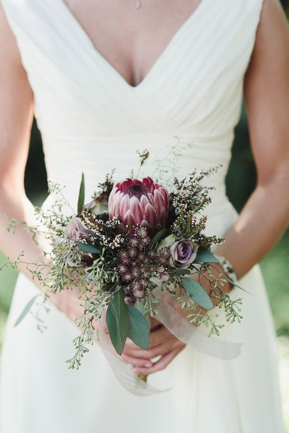 Wedding Bouquet - Giant Protea - StyleMePretty