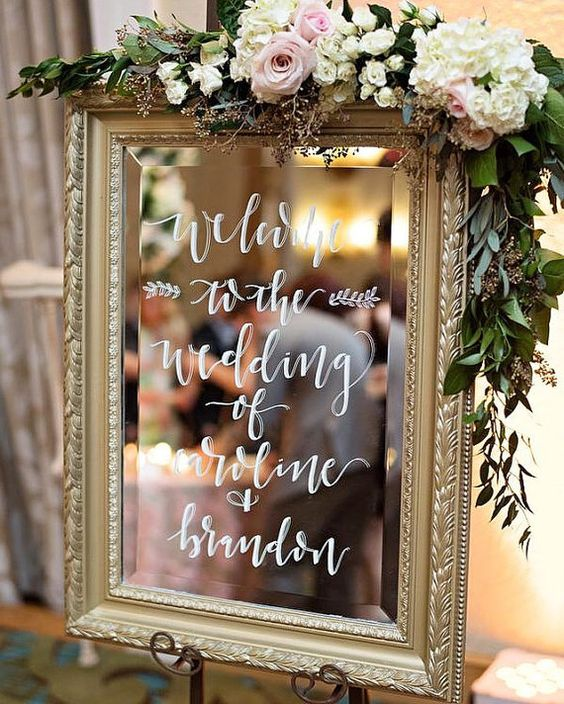 Wedding Mirror Welcome Signs