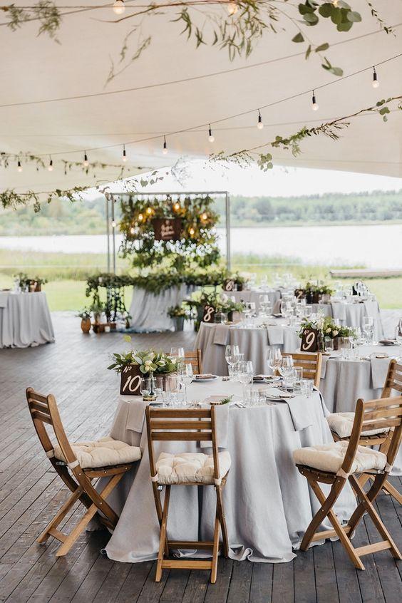 Wedding reception under tent for a Summer wedding