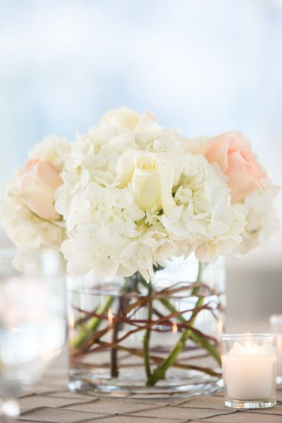 White HYDRANGEA and soft pale roses centerpiece