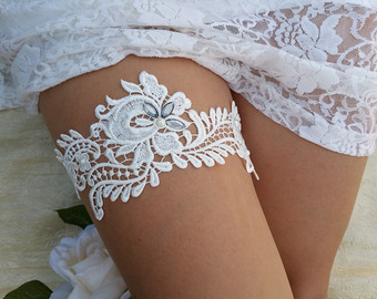 White Lace Wedding Garter from Etsy