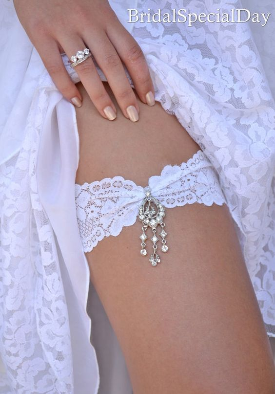 White Wedding Garter Set