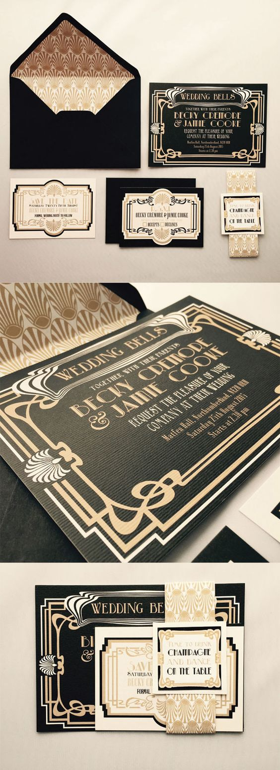 black and gold 1920s wedding invitations would be perfect for a great Gatsby inspired wedding(1)