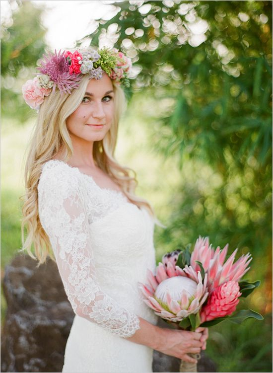 boho chic King protea bouquet ideas