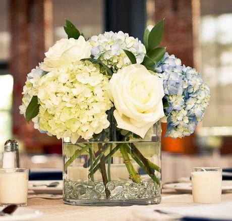 Centerpieces Hydrangeas And Roses In Clear Square Short Vases