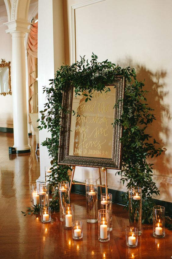mirror calligraphy wedding signage
