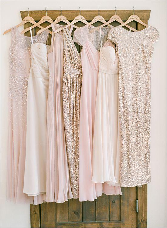 pink and gold bridesmaid dresses via weddingchicks