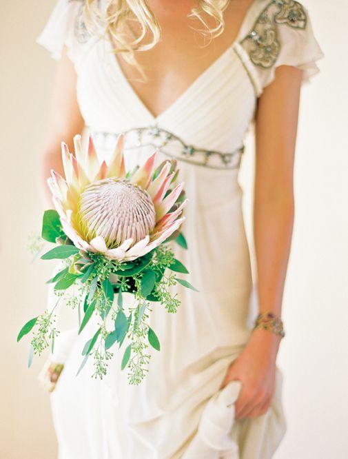 wedding bouquet flower king proteas magnolia single stem