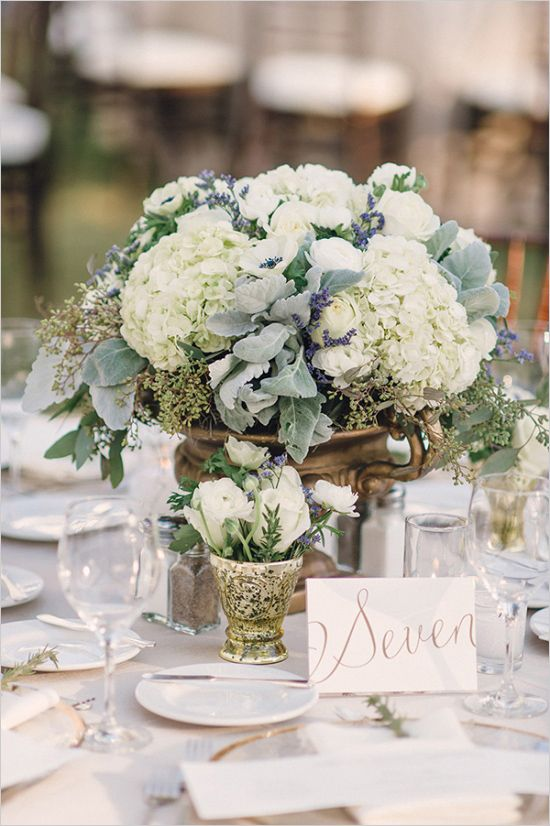 wedding reception with hydrangea centerpieces