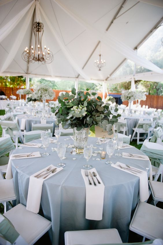 Blue and White Outdoor Reception Decor