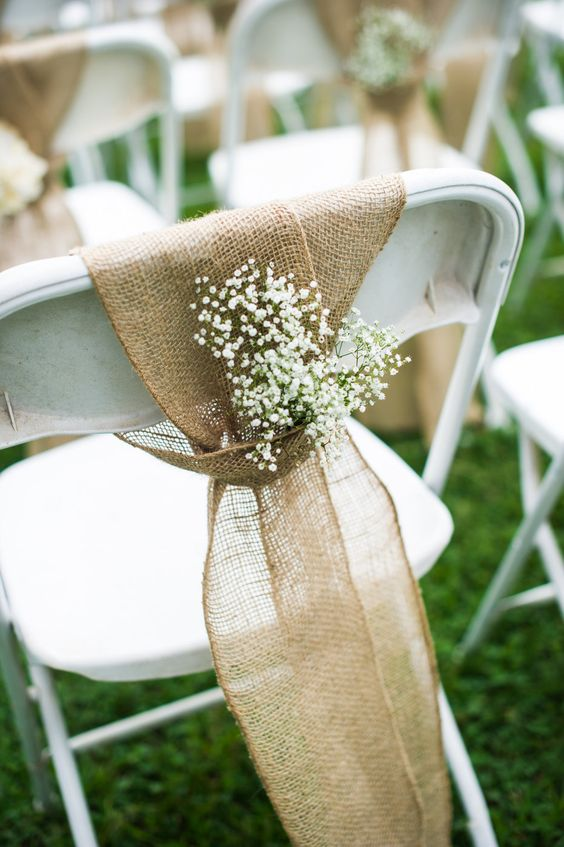DIY Vintage Barn Wedding. Ceremony chairs