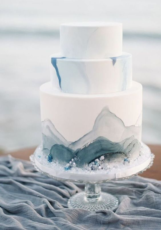 Dusty Blue Ocean Wedding Cake
