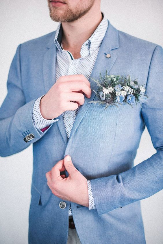 Dusty blue and green boutonniere