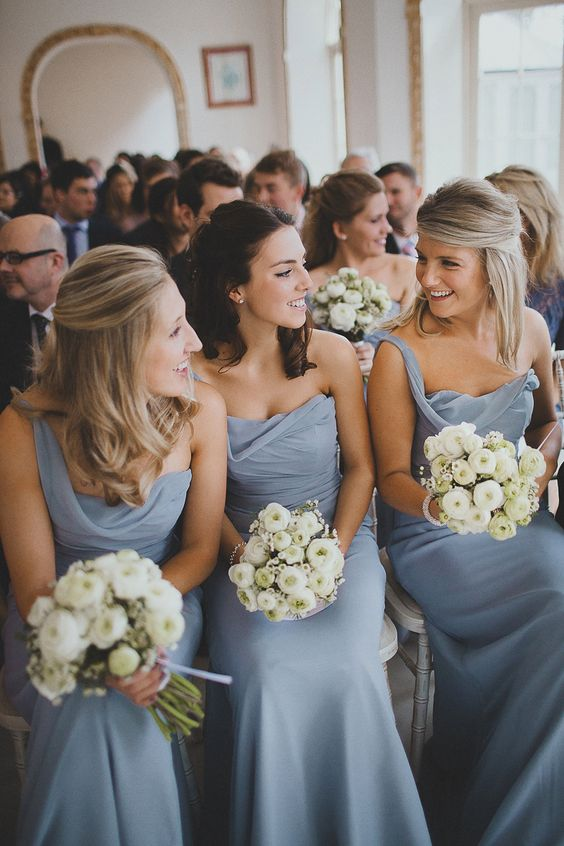 Dusty blue bridesmaid dresses Image by Claudia Rose Carter