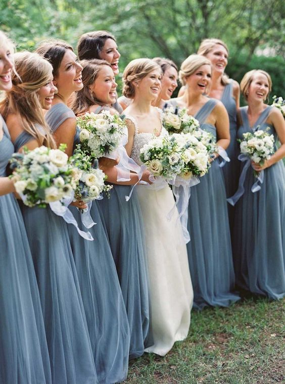 Dusty blue bridesmaid dresses photo by Julie Cate Photography