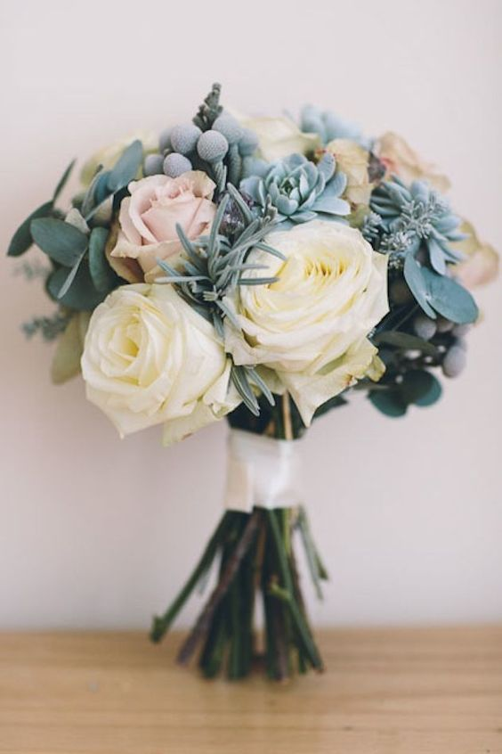 Large cream and dusty pink roses with diamonte detail