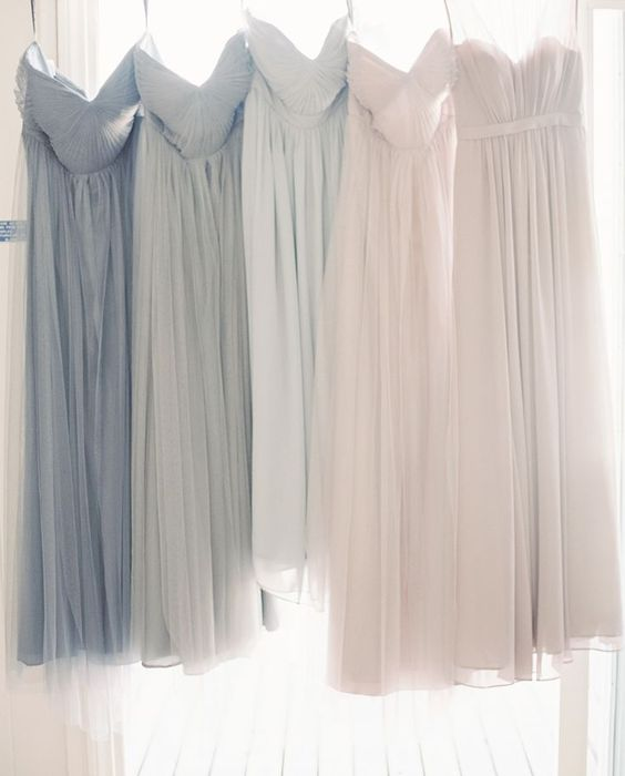 Mix and match dusty grey taupe ombre bridesmaids dresses