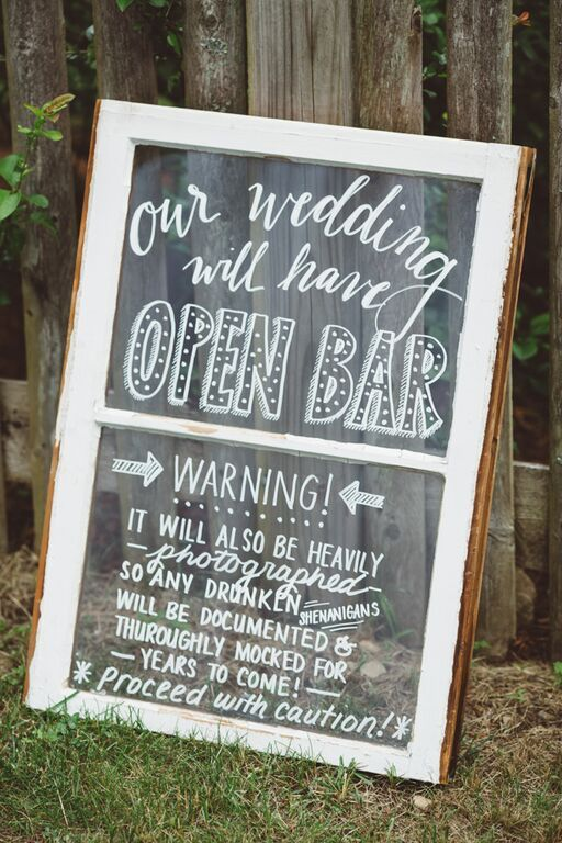 Open Bar Sign Ideas for a Backyard Wedding