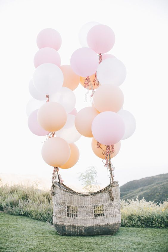 Outdoor Wedding Decor, Hot Air Balloon Basket as an alternative to the traditional photo booth