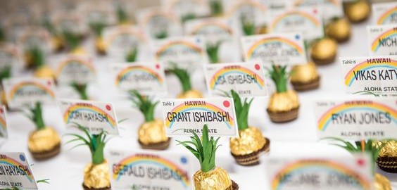 Pineapple escort cards made from Ferrero Rochers