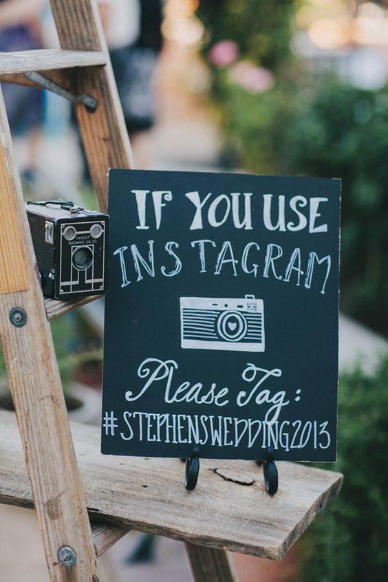 Rustic Backyard Wedding Hashtag Sign Ideas