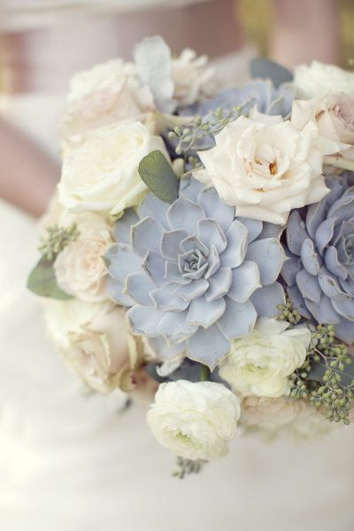 Slate and Dusty Blue Wedding Bouquet Ideas