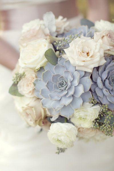Slate and Dusty Blue Wedding Bouquet Ideas