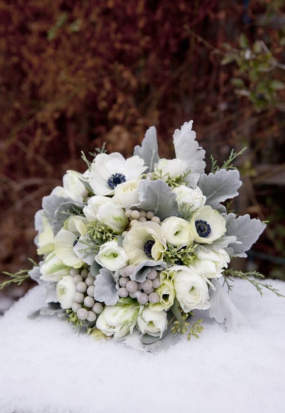 amazamazing grey and silver wonderland winter wedding bouquetsing