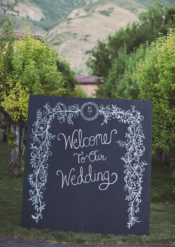 awesome black white wedding sign