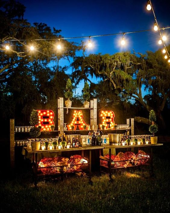 backyard drink bar wedding decorations