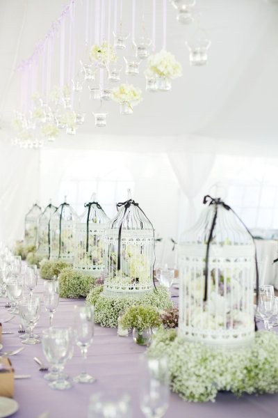 black and white birdcage wedding centerpieces