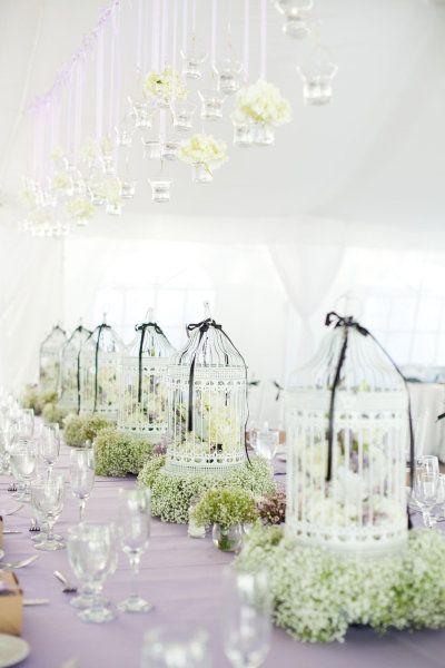 black and white birdcage wedding centerpieces