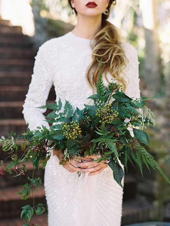 bold beautiful green winter wedding bouquets