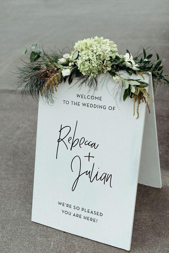 breathtaking urban wedding welcome sign
