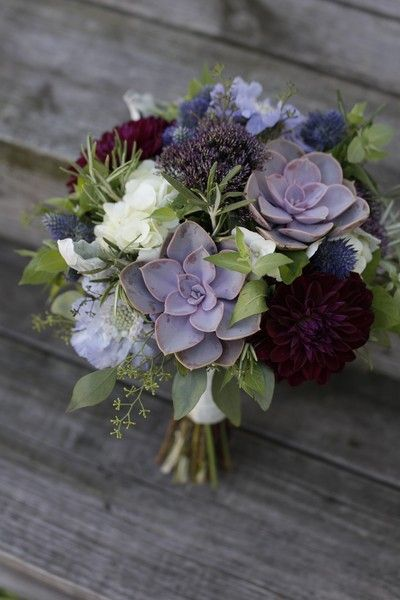 bright and colorful winter wedding bouquets
