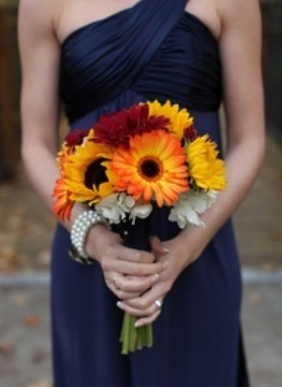 bright sunflower wedding bouquets for november weddings