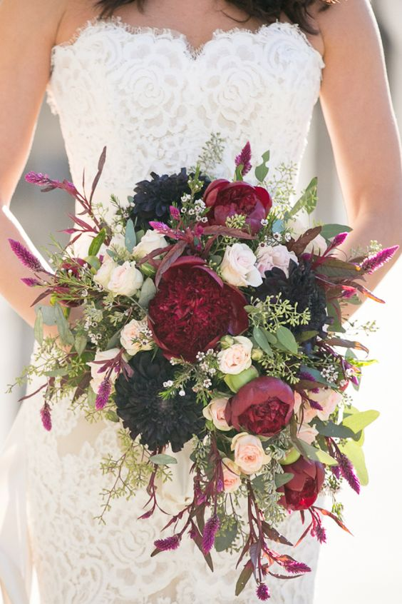 burgundy and green wedding bouquets