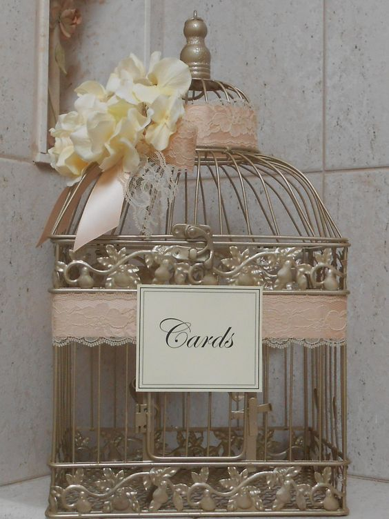 champagne gold birdcage wedding card box
