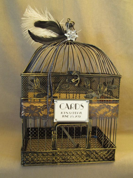 chic birdcage wedding card box with feathers