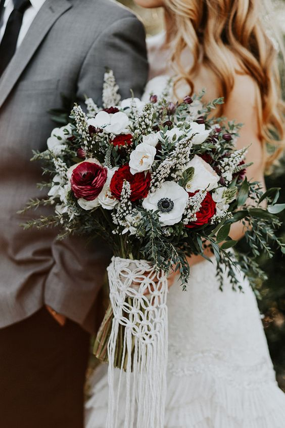 classic greenery and rose winter wedding bouquets
