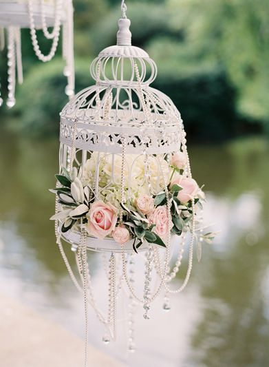 cute beaded birdcage wedding decorations