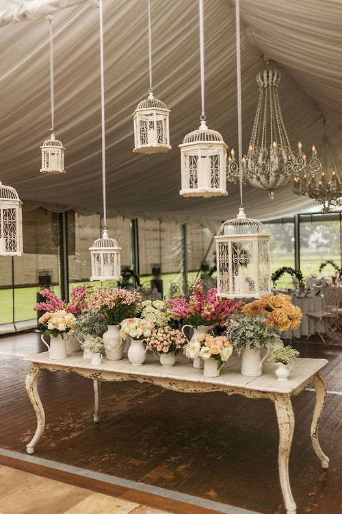 cute ivory birdcage decorations for your garden wedding