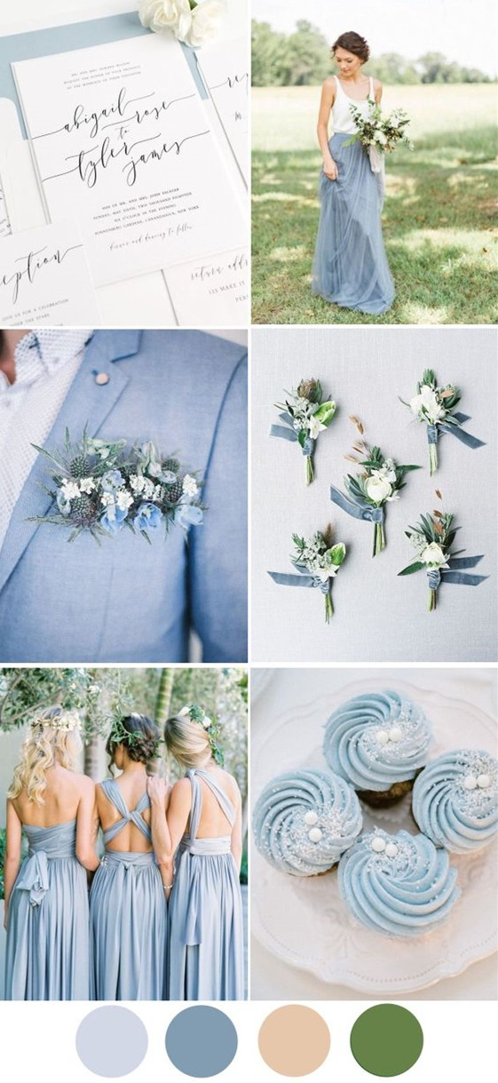 dreamy dusty blue wedding palette - summer beach wedding mother of the bride dresses