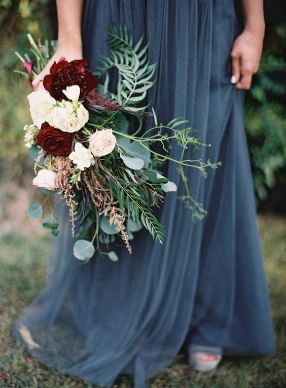 dusty blue and burgundy wedding ideas photo by 100layercake
