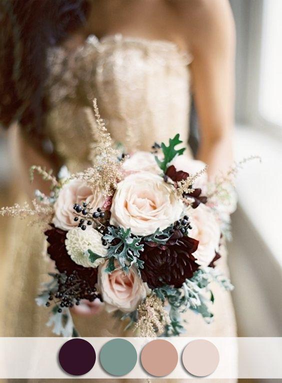 elegant burgundy and blush pink fall wedding bouquets
