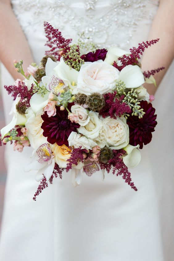 eye-poping fall wedding bouquets with various colors