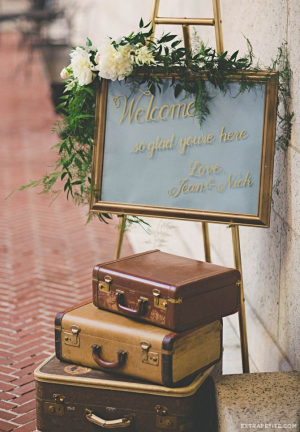 gatsby-inspired wedding welcome sign